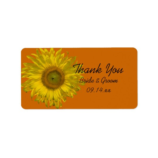 Sunflower on Orange Wedding Thank You Favour Tags Address Label