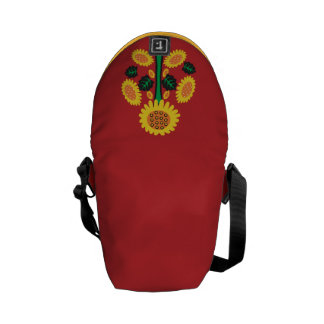 Sunflower on Red Commuter Bags