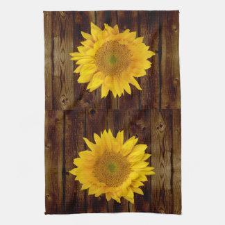 Sunflower on Vintage Barn Wood Country Tea Towel