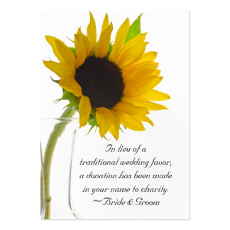 Sunflower on White Wedding Charity Favor Card Pack Of Chubby Business Cards
