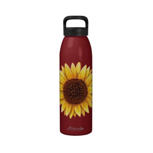 Sunflower painting custom water bottle