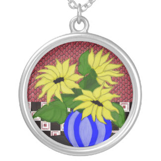 Sunflower Painting Necklace