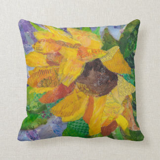 Sunflower paper painting - mixed media - pillow