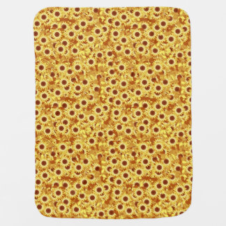 Sunflower pattern - gold, yellow and brown baby blanket