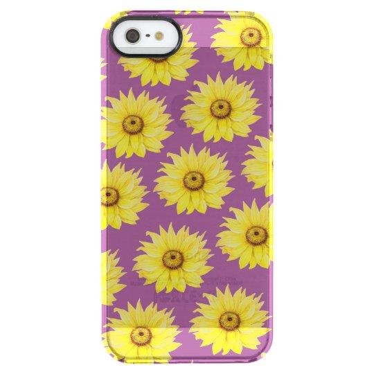Sunflower Pattern On Purple Clear iPhone SE/5/5s Case