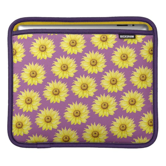 Sunflower Pattern On Purple iPad Sleeve