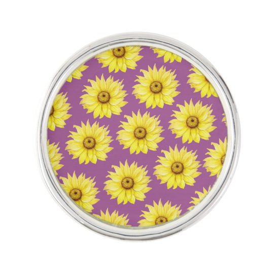 Sunflower Pattern On Purple Lapel Pin