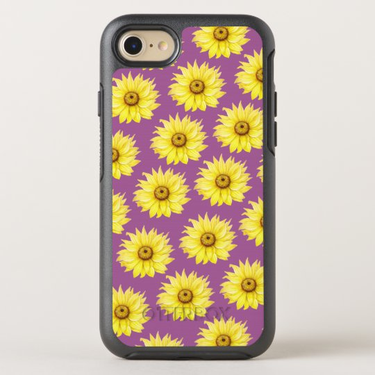 Sunflower Pattern On Purple OtterBox Symmetry iPhone 8/7 Case