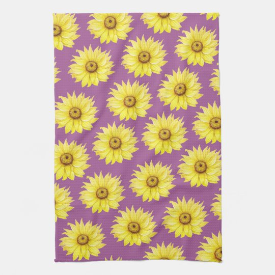 Sunflower Pattern On Purple Tea Towel