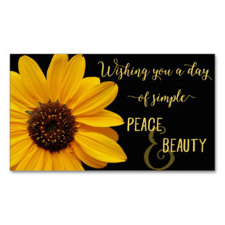 Sunflower Peace & Beauty Magnetic Business Cards