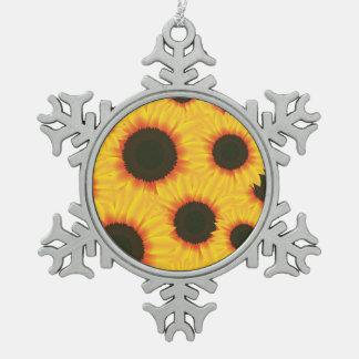 Sunflower Pewter Snowflake Decoration