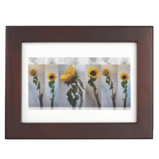Sunflower Photo Art Collage Elegant Day Flowers Keepsake Box