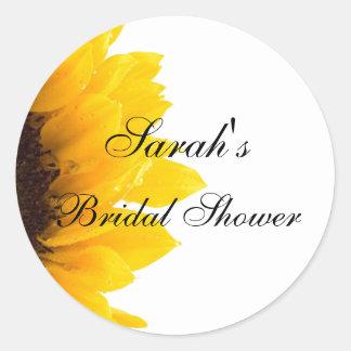 Sunflower Photo Bridal Shower Round Sticker