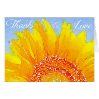 "Sunflower picture: ""Thanks and love"". Card"
