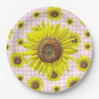 Sunflower Pink Gingham Party Paper Plates
