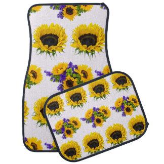 Sunflower Plant, Petals, Leaves - Yellow Green Car Mat