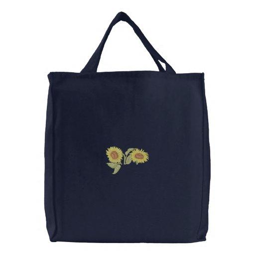 Sunflower Pocket Topper Embroidered Tote Bag