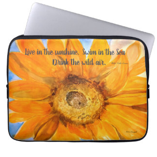 Sunflower Poetry l Watercolor Laptop Sleeve