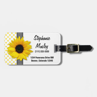 Sunflower Polka Dot Gingham Yellow Black White Luggage Tag