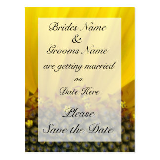 Sunflower Print Wedding Save The Date Post Card