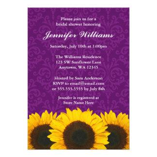 Sunflower Purple Damask Bridal Shower Custom Invite