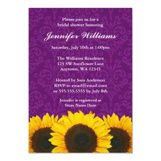 Sunflower Purple Damask Bridal Shower 13 Cm X 18 Cm Invitation Card