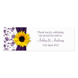 Sunflower Purple Damask Floral Wedding Favor Tags Business Cards