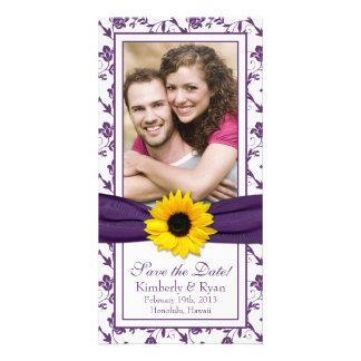 Sunflower Purple Floral Ribbon Wedding Save Date Photo Greeting Card