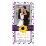 Sunflower Purple Floral Ribbon Wedding Thank You Photo Card Template