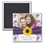 Sunflower Purple White Damask Wedding Magnet