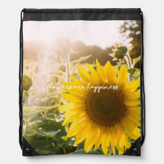 "Sunflower quote ""flowers are happiness"" drawstring bag"