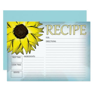 Sunflower Recipe Card