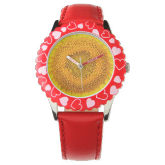 Sunflower Red Hearts Watch
