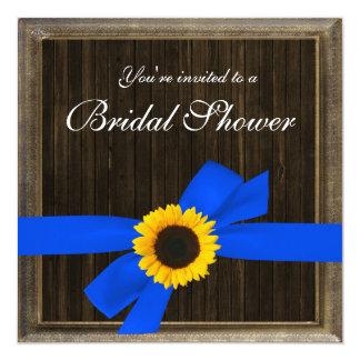 Sunflower Ribbon Barn Wood Frame Bridal Shower 13 Cm X 13 Cm Square Invitation Card