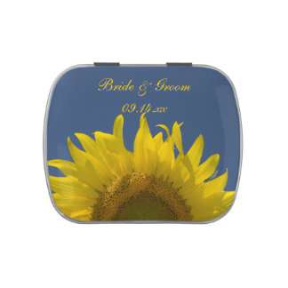 Sunflower Rising Wedding Favor Jelly Belly Candy Tins