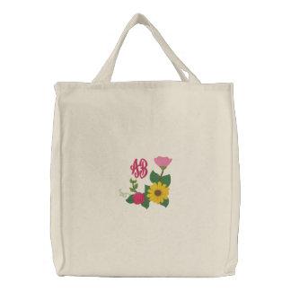 Sunflower Rose Monogram Canvas Bag