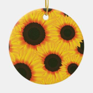 Sunflower Round Ceramic Decoration