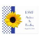 Sunflower Royal Blue White Polka Dot Wedding RSVP Postcard
