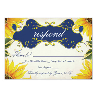Sunflower RSVP Card - Yellow and Navy Blue 9 Cm X 13 Cm Invitation Card