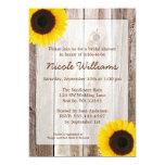 Sunflower Rustic Barn Wood Bridal Shower 13 Cm X 18 Cm Invitation Card