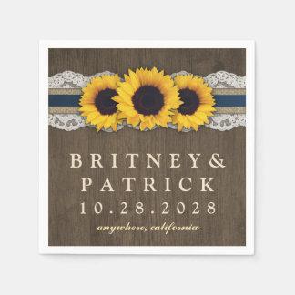 Sunflower Rustic Blue Burlap Lace Wedding Napkins Disposable Napkin