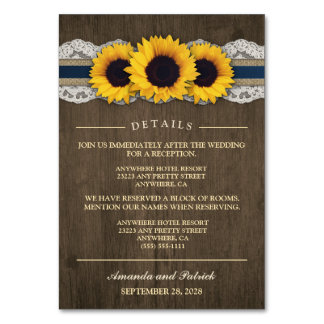Sunflower Rustic Blue Reception + Hotel Cards Table Card