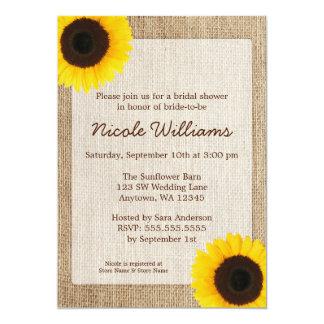 Sunflower Rustic Burlap Bridal Shower 13 Cm X 18 Cm Invitation Card