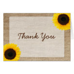 Sunflower Rustic Burlap Thank You Note Card
