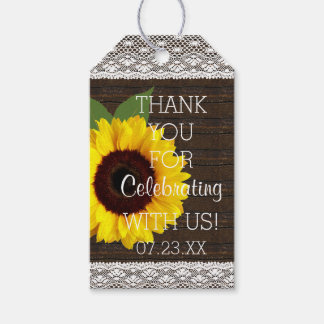 Sunflower Rustic Country Barn Wedding Guest Favor Gift Tags