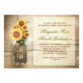 sunflower rustic mason jar rehearsal dinner invite