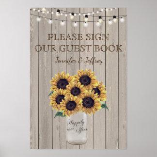 Sunflower Rustic Mason Jar Wedding Guest Book Sign