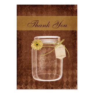 sunflower rustic mason jar wedding thank you cards