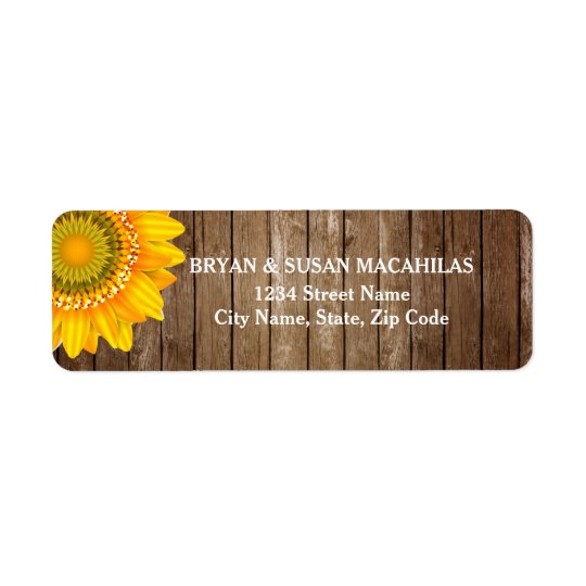 Sunflower Rustic Vintage Wood Return Address Label