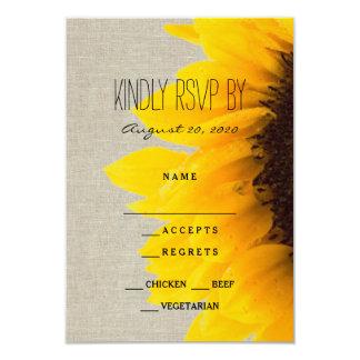 Sunflower Rustic Wedding RSVP Card 9 Cm X 13 Cm Invitation Card